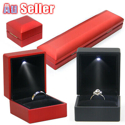 AU9.90 • Buy LED Lighted Jewelry Pendant Necklace Box Case Holder Display Gift Ring Storage