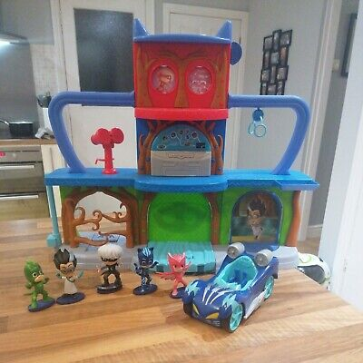 PJ Masks Headquarters HQ Playset Play Set With Figures And Catboy Silver Racer • 25£