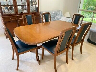 AU600 • Buy Solid Timber Oval Dining Table With 2 Extensions And 8 High Back Leather Chairs