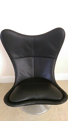 £950 • Buy  🌟 Glove Chair -  White Swivel Black Leather, Modern Seat (Terence Conran)