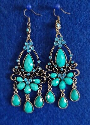 £4.99 • Buy Earrings Chandelier Style FASHION Turquoise Tibetan Gold Colour