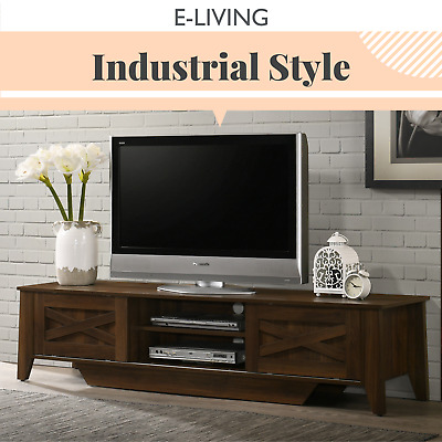 AU199 • Buy TV Stand Entertainment Unit 180cm Industrial Style Cabinet - Sliding Dark Wood