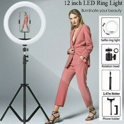 AU26.58 • Buy Dimmable 12  Inch LED Ring Light Circle Lamp Make Up Studio Photography Lighting