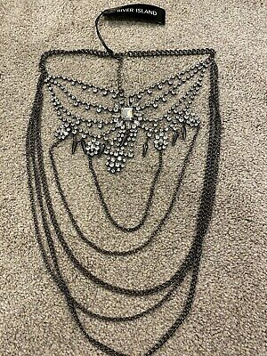 £15 • Buy River Island Statement Necklace Jewellery Grey Silver Chains