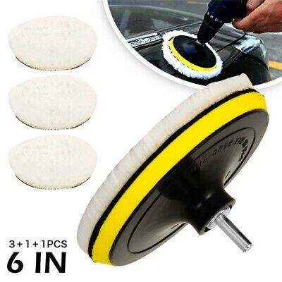 5pcs 6  Buffing Polishing Pads Wool Wheel Kit For Car Polisher Drill Adapter • 7.59£