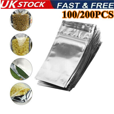 200PC Aluminium Foil Stand Up Pouches Mylar Zip  Seal Bags Food Packaging UK • 6.28£