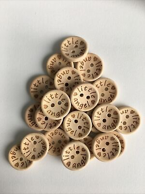 £3.25 • Buy 10 X Wooden Buttons 18mm. Little Angel Baby