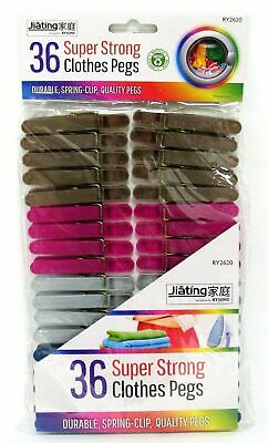 £2.40 • Buy 36  X Super Strong Clothes Pegs Assorted Colour Spring Mounted Durable