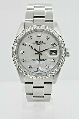 $4500 • Buy Rolex Date 1501 Stainless Steel Case Mother Of Pearl Diamond Dial 34 Mm