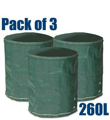 £8.49 • Buy Pack Of 3 - 260 Litre Round Garden Waste Bags Heavy Duty Reusable Refuse Sacks