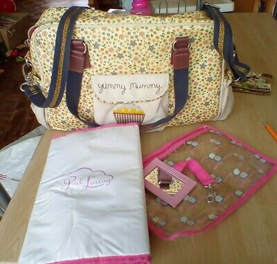£9.99 • Buy Yummy Mummy Pink Lining Changing Bag And Mat Flowers And Bees Cupcake Design...