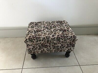 £27 • Buy Vintage Sewing /Needlework Box/ Stool On Legs Tapestry Fabric & Contents