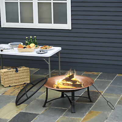 Steel Outdoor Patio Fire Pit Wood Log Burning Heater With Poker, Grate Backyard • 109.99£