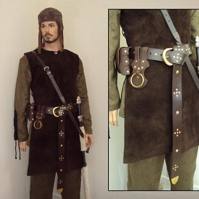 £35 • Buy Medieval Brown Leather Long Belt & Brass Accents Costume Re-enactment & Stage