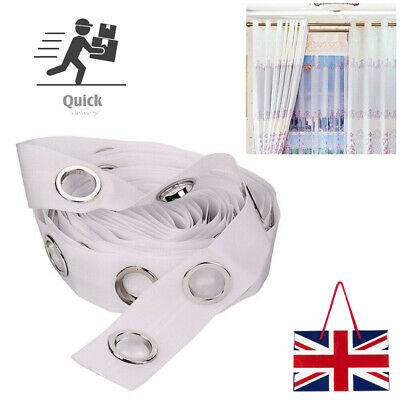 £9.89 • Buy 5 Or 10M Curtain Heading Tape Round Eyelet Rings For Curtain Blinds Accessories