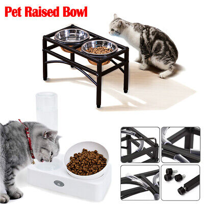 Pet Raised Dog Bowl Water Stand Feeder Elevated Dispenser Station Cat Food Bowls • 10.88£