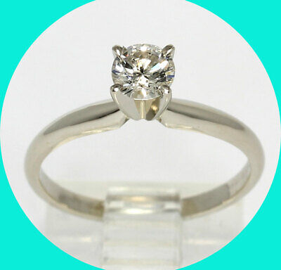 AU648.76 • Buy New W/tag .40CT Diamond Solitaire Engagement Ring 14K White Gold Round Brilliant