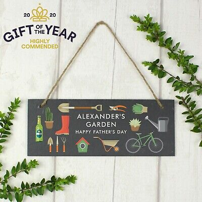 Personalised Garden Hanging Slate Plaque Allotment Shed Greenhouse Sign Gift  • 13.99£