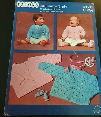 £1.50 • Buy Patons Crochet Pattern 6120 Babys Crochet Patterns 3ply To Fit 18-19 Inch Chest