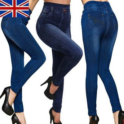£4.36 • Buy Womens High Waisted Stretchy Skinny Jeans Look Jeggings Pants Plus Size 6-18 `
