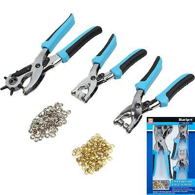 £9.49 • Buy BlueSpot 3pc Revolving Leather Hole Punch And Eyelet Plier Set Puncher Belts Cut