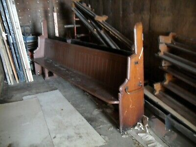 £195 • Buy 1 High Back Antique Pitch Pine Church Pew Gothic Chapel Bench Seat Seating 10 Ft