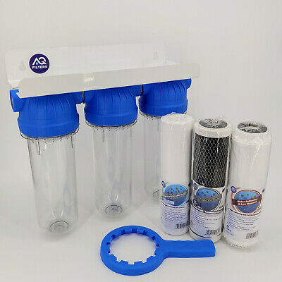 £55 • Buy 3 Stage Whole House Water Purifier And Softener Filter Kit Salt Free 3/4  BSP