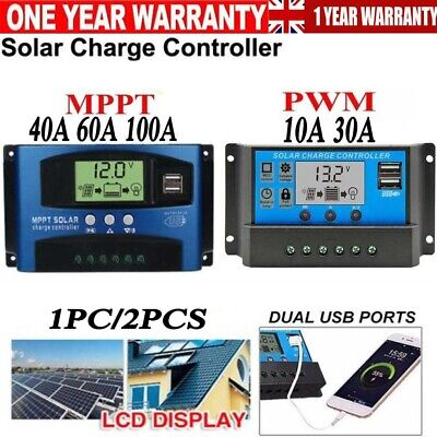 30/40/100A PWM MPPT Solar Panel Battery Regulator Charge Controller Auto Focus • 17.99£