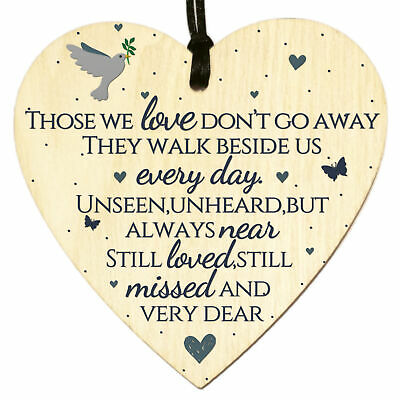 £3.49 • Buy Wooden Heart Plaque Sign Bereavement Memorial Remembrance Poem Loss Love Gift