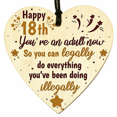 £3.49 • Buy Funny 18th Birthday Gifts For Friends Son Daughter Wooden Heart Plaque Keepsake