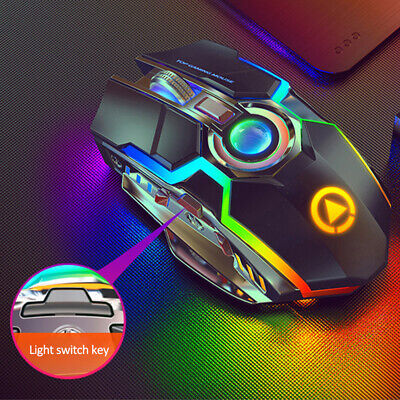 AU11.39 • Buy LED Wireless Gaming Mouse Game Optical 2.4GHz Rechargeable RGB For Laptop Random