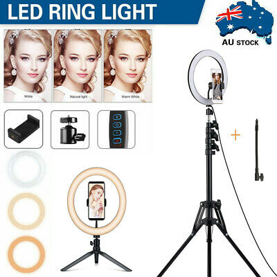 AU18.52 • Buy 10 LED Ring Light Kit W/ Stand Dimmable For Live Makeup Phone Camera Youtube AU