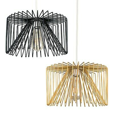 £19.99 • Buy Industrial Pendant Light Shade Gold Ceiling Metal Wire Design Lighting LED Bulb