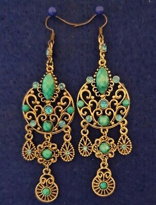 £5.99 • Buy Earrings FASHION Turquoise Gold Tone Chandelier Style