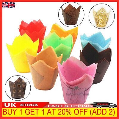 £2.89 • Buy 100X Large Tulip Muffin Cases Cupcake Wraps Multiple Color Wrapper Party Supply