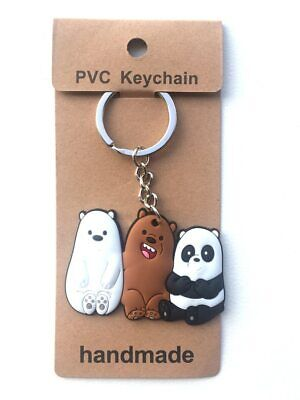 £3.99 • Buy We Bare Bears Rubber Metal Keyring Keychain Cartoon Character Ice Panda Grizzly