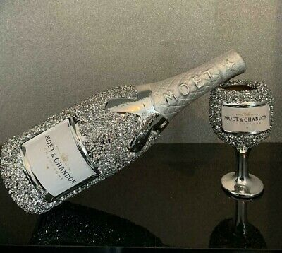 £30.99 • Buy Crushed Diamond Silver Crystal Ceramic Champagne Bottle, Shelf Sitter And Glass
