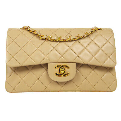 £4769.13 • Buy CHANEL Classic Double Flap Small Chain Shoulder Bag 2047706 Beige Leather 34971