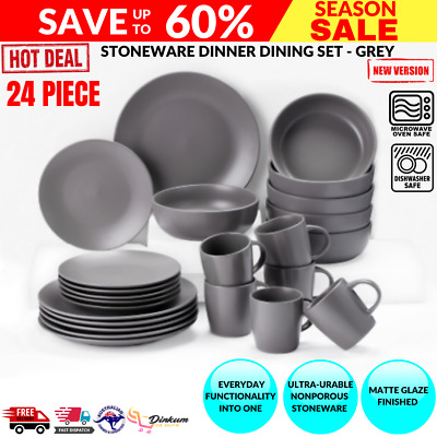 AU129.94 • Buy 24 PC Dinner Set Stoneware Plates Bowls Cups Dining Dinnerware Table Kitchen