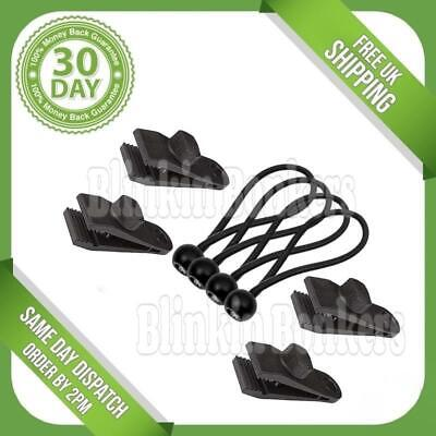 8pc Reusable Tent Tarp Tarpaulin Fastener Clip Clamp Holder Buckle Bungee Cord • 5.89£