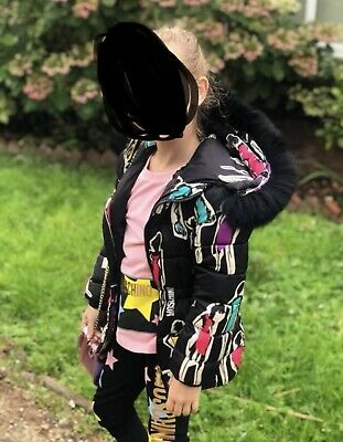 £100 • Buy Moschino Duck Down Feather Coat With Fur Trim Age 8 Ex Con Girls Designer