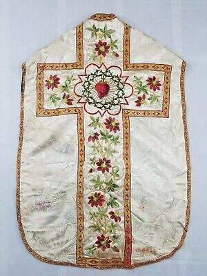 £100 • Buy Antique French Sacred Heart Hand Embroidered Church Vestment Chasuble 103x70cm