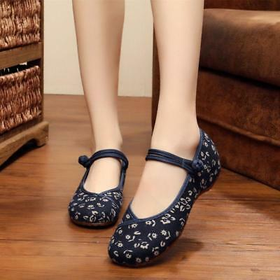 £15.99 • Buy Womens Retro Mary Jane Shoes Floral Pumps Chinese Buckle Comfort Casual Flats