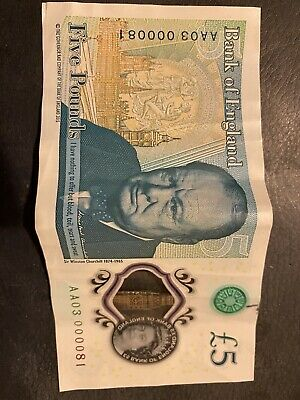 AA03 000081 £5 POLYMER FIVE POUND NOTE COLLECTABLE SERIAL NUMBER Lowest Number • 10£