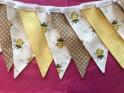 £8.95 • Buy 6ft / 9ft ~ Bee & Polka Dot Ivory/Yellow Double Sided 100% Cotton Fabric Bunting