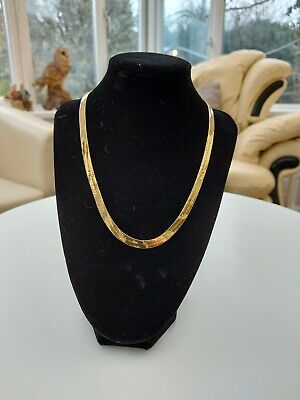 £10 • Buy Gold Tone, Yellow Metal Flat Snake Chain 17 Inches