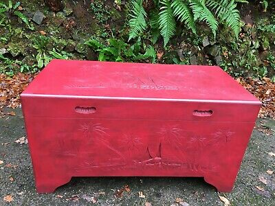 C.1950's Large Chinese Red Camphor Wood Chest • 155£
