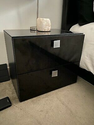 £90 • Buy Black Gloss Glass Top Bedside Tables X 2