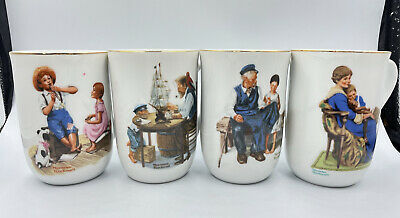 $ CDN31.37 • Buy Vintage 1982 Norman Rockwell Museum Coffee Mugs Cups Set Of 4 White W/ Gold Trim