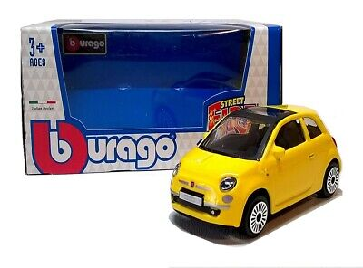 2008 FIAT 500 In Yellow - 1:43 Scale Die-Cast Car Model By Burago - Toy New • 4.75£